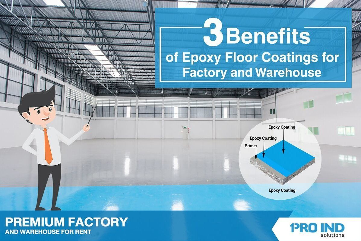 Epoxy is more notable for its durability and adhesion compared to ordinary concrete floors or other types of coating. From these multiple benefits, we use epoxy coatings on our rental factory and ware