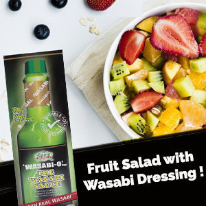 Fruit salad with lemon Wasabi dressing, is a refreshing snack menu, rich in vitamins from fresh fruits and the full nutritious advantages of Wasabi. It is simply very refreshing on summer day.